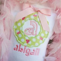 Boys or Girls Shabby Christmas Wreath Initial Machine Applique Shirt  Newborn to a 12y. $22.00, via Etsy.