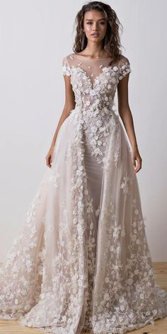 wedding dresses fall 2018 sheath overskirt illusion neckline floral appliques dimitrius dalia New York Bridal Fashion Week brought exciting designs for 2018 brides-to-be. Look at the best wedding dresses fall 2018 from top designers. Be modern bride! Gatsby Wedding Dress, Fall Wedding Dresses, Bridal Dresses, Girls Dresses, Bridesmaid Dresses, Lace Wedding, Dresses Dresses, Wedding Bride, Beige Wedding Dress