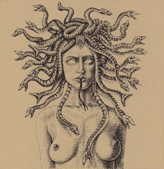 Medusa by Ronnie Ray Mendez, archival ink on BFK paper | Modern Eden Gallery