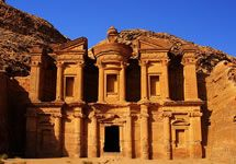 New Seven Wonders of the World  Petra, Jordan  Giant red mountains, one of the greatest wonders worked by nature and man.