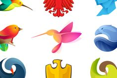 12 colorful bird icons by kaer_shop on Creative Market