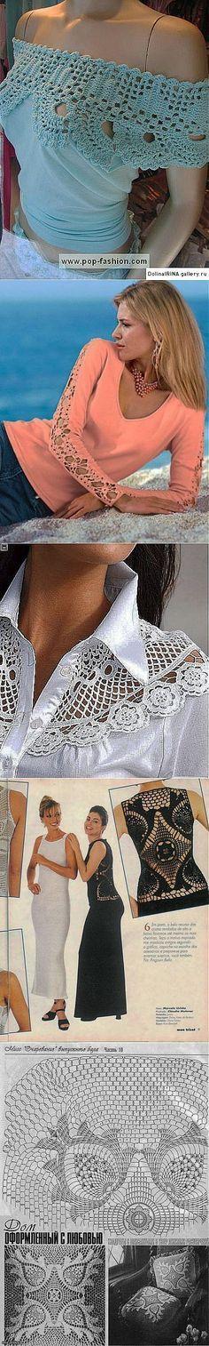 Комбинированная одежда с вязаным кружевом - идеи и схемы.