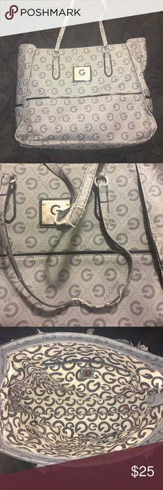 "G by Guess purse Authentic & used. Flaws on handle, reduced price. Inside is perfect, no other flaws!! Aprx . 12 "" x 12"" G by Guess Bags Totes"