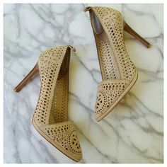 """Rachel Zoe Valentina Cutout Pumps Beautiful laser-cut kidskin pumps in soft beige with pointed toes and stacked leather stiletto heels. Leather upper and lining, padded footbed. Heel 4"""", platform .25"""", length 10"""", width 2.75"""". Worn twice, EUC. Some wear on bottoms of soles, gray mark on tab at back of left heel, see last photo. Rachel Zoe Shoes Heels"""