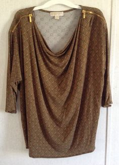 Michael Kors Logo Chain Link Brown Dolman Top Gold Zippers 3/4 Sleeve Blouse XL #MichaelKors #KnitTop