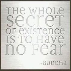 THE WHOLE SECRET OF EXISTENCE IS TO HAVE NO FEAR. - Buddha