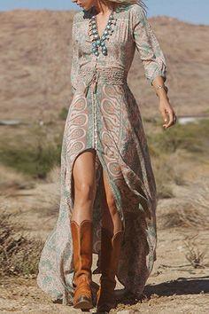 2016 Autumn Women Vintage Floral Print Long Maxi Dress Sexy V-Neck High Split Irregular Party Dress Boho Vestidos Robe de festa Chiffon Maxi Dress, Maxi Dress With Sleeves, Maxi Dresses, Slit Dress, Beach Dresses, Gypsy Dresses, Dress Beach, Sheer Dress, Summer Dresses