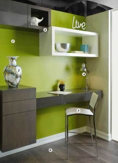 Beautiful green and grey desk area Study Table Designs, Study Room Design, Study Room Decor, Room Design Bedroom, Cute Room Decor, Kids Room Design, Guest Room Office, Home Office Decor, Hallway Office