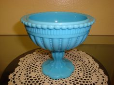 Blue+Milk+Glass+Pedestal+Candy+Dish+by+1HoardersHaven+on+Etsy,+$35.00
