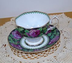 Vintage Royal Albert Needle Point Needlepoint Footed Cup with Saucer #RoyalAlbert #footed
