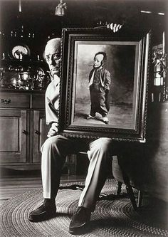 Buster Keaton, with picture of himself as a child in Vaudeville...
