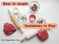 In need of some 5 minute play prompts to ignite your kids' creativity and imagination? Here's the why and how of creating invitations to play for children. From The Imagination Tree Play Based Learning, Learning Through Play, Early Learning, Kids Learning, Craft Activities For Kids, Preschool Activities, Projects For Kids, Crafts For Kids, Morning Activities