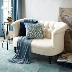Colette Loveseat - Parchment | Pier 1 Imports - For my future walk-in closet