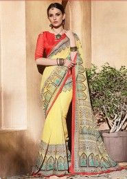 Casual Wear Yellow Silk Printed Saree