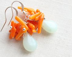 Light Blue Amazonite Earrings  Orange Coral Cluster by KapKaDesign, $49.00