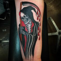 Make your Grim Reaper tattoo design look funky with this kind of design.