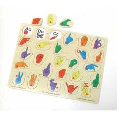 Fun illustrations under each letter handshape helps teach your child the alphabet