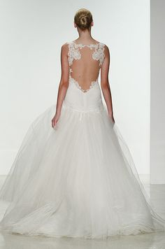 This Kenneth Pool tulle wedding dress features a beautiful lace open back detail.