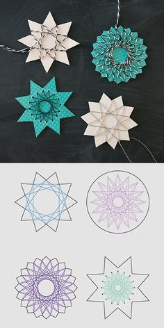 DIY 5 String Art Stars' Tutorials and Templates from By Blikfang here.