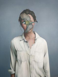 Bird face Oil on canvas ---- Amy Judd Modern Art, Contemporary Art, Kunst Online, Art Et Illustration, Human Art, Surreal Art, Fine Art Photography, Collage Art, New Art
