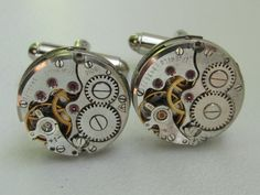 Steampunk Cufflinks - with the smallest round vintage watch movements. Vintage upcycled mens Cuff Links, Gift under 40 Dollars, $35.00