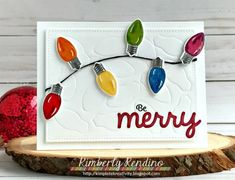 Sunny Studio Stamps: Merry Sentiments String of Lights Christmas Card by Kimberly Rendino.