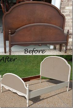 Great before and after furniture refinishing site! Beautiful full sized bed painted with Annie Sloan Chalk Paint Old White and Coco