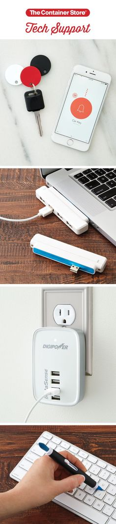 Give yourself some tech support, in style, with our Chipolo Item Finder, 4-Port Sliding Easy Hub, 4-Port USB Wall Charger and Electronics Cleaning Brush! (Computer Tech Gifts)