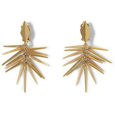 Vince Camuto Fringe Spike Clip Earrings ($38) ❤ liked on Polyvore featuring jewelry, earrings, goldt resin, leather earrings, clip earrings, spike jewelry, sparkly earrings and gold tone jewelry