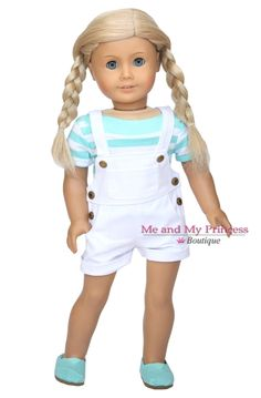 White Overall Shorts, Striped shirt and shoes for American girl doll clothes