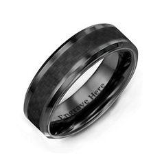 X12 Mens Jet Black  personalised wedding engraved DAD ring band SIZES L 6