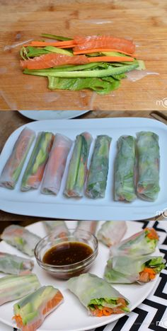 Smoked Salmon and Veggie Spring Rolls. They are super healthy and filling at the same time. Healthy Snacks, Healthy Eating, Healthy Recipes, Healthy Rolls, Salada Light, Spring Rolls, Summer Rolls, I Love Food, Appetizer Recipes