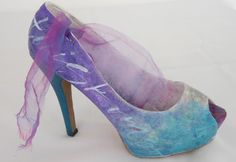 Decorated calligraphy shoe made by Cecile Walters.  See more at www.letterdance.co.za