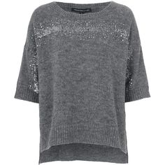 French Connection Frosted Sequin Jumper (6.235 RUB) ❤ liked on Polyvore featuring tops, sweaters, clearance, grey, gray sequin top, grey top, grey sweater, sequin top e jumper top