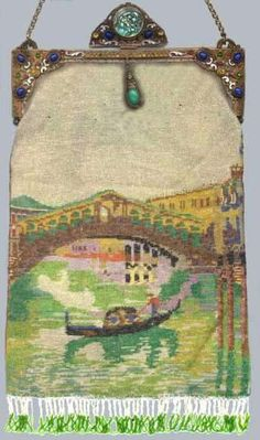 Famous Rialto Bridge Scenic Venetian Beaded Purse with Fabulous Jeweled Frame - Exceptionally Large Size!