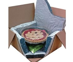 MP Global Thermal Pie/Cake Shippers supports great travel plans for mail orders. Pies arrive in style, protected by biodegradable insulated padding. No foam beads or chemical odors.