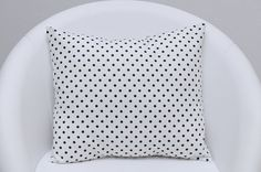 Decorative white cotton pillow cover with black by ThePillowWorld