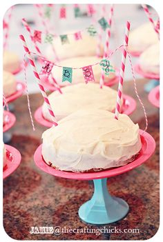 Mini Cake Stands and Washi Tape Mini Cake Banners for a Baker's birthday party. Check out the rest of the party!