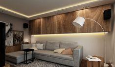 Wandgestaltung Wohnzimmer Licht Led Leiste Holz Hangeschraenke