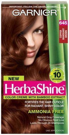 Garnier Herbashine Haircolor, 645 Copper Mahogany Brown by Garnier Hair Color Garnier http://www.amazon.com/dp/B00OVRWPYW/ref=cm_sw_r_pi_dp_paPTub1PA15TT