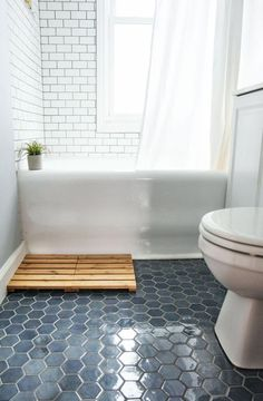 Blue-Hexagon-Floor-Tile tiles 8 Things I Learned During My Bathroom Tile Renovation Bathroom Floor Tiles, Bathroom Renos, Bathroom Ideas, Bathroom Cabinets, Bathroom Organization, Bathroom Remodeling, Bathroom Mirrors, Shower Ideas, Tile For Small Bathroom
