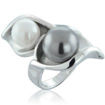 Grey and White Calla Lily Pearl Flower Ring