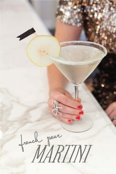 French Pear Martini--Ingredients:    1 1/2 oz St. Germain liqueur  1 1/2 oz pear vodka  Champagne  super-fine sugar for rimming