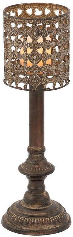 BombayTM Embossed Metal Candle Holder