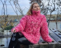Thick Sweaters, Hand Knitted Sweaters, Women's Sweaters, Fluffy Sweater, Mohair Sweater, Over The Top, Handgestrickte Pullover, Turtleneck Outfit, Icelandic Sweaters