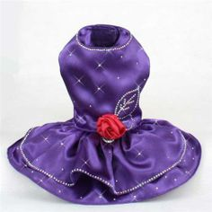 Purple Satin Dog Dresses for Formal Christmas Holiday Party - $128.00