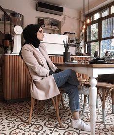 Image may contain: 2 people, people sitting and indoor Modern Hijab Fashion, Street Hijab Fashion, Arab Fashion, Muslim Fashion, Modest Fashion, Modest Dresses, Modest Outfits, Girl Outfits, Fashion Outfits