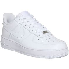 Nike Air Force 1 Lo (w) (€97) ❤ liked on Polyvore featuring shoes, sneakers, nike, trainers, white, hers trainers, real leather shoes, nike footwear, white leather shoes and white ankle strap shoes