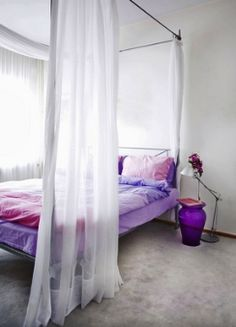 #Lilac  minimalist interior design bedroom in white and lilac