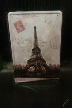 Plechová vintage,retro tabule obraz Paříž